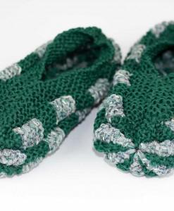 Pantoufle en phentex pour femme vert et bruyère | Fait main par Artigina