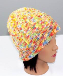 Tuque en laine Confetti (coté) | Fait main Artigina