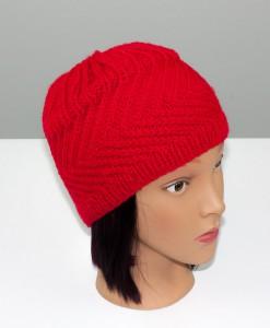 Tuque en acrylique rouge (basse) (coté) | Fait main Artigina