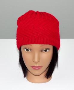 Tuque en acrylique rouge (basse) (devant) | Fait main Artigina