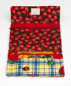 Porte-monnaie pour femme fraise (intérieur) | Fait main Artigina