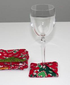 Sous-verre identificateur souris de Noël rouge (coupe à vin) | Fait main Artigina