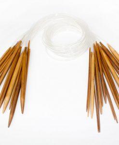 Ensemble de 18 aiguilles circulaires en bambou brunes