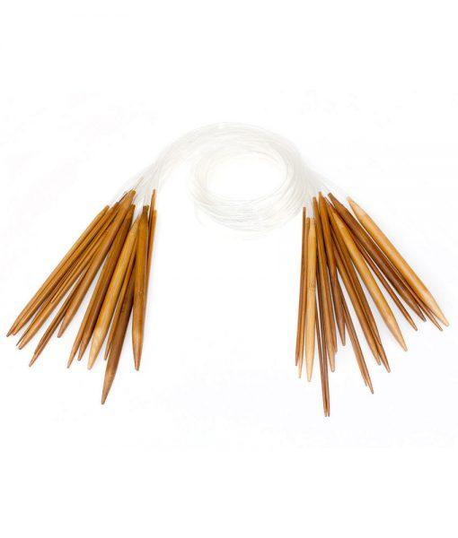 Aiguilles circulaires en bambou brunes