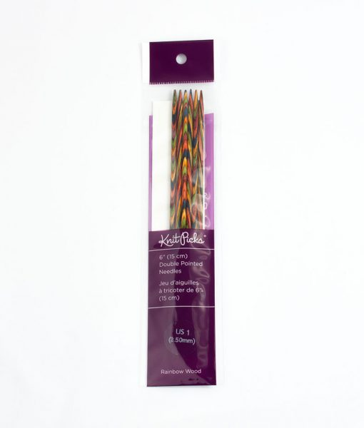 Aiguilles à double pointes 6 po Rainbow Wood de Knit Picks - 2,5mm