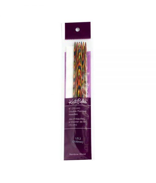 Aiguilles à tricoter double pointes - Rainbow Wood de Knit Picks