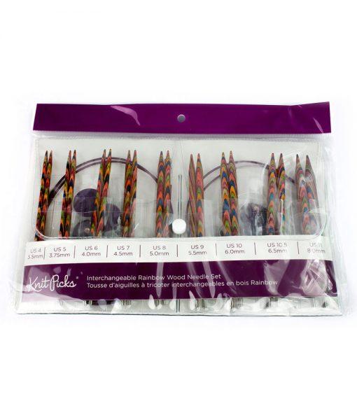 Ensemble d'aiguilles circulaires interchangeables Rainbow Wood de Knit Picks