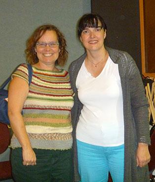 Gina (Artigina) en compagnie de Isabelle Allard au festival de la p'tite laine de Rivière-du-Loup