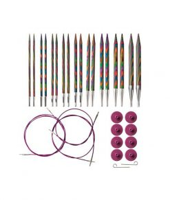 Kit d'aiguilles circulaires interchangeable Rainbow Wood de Knit Picks