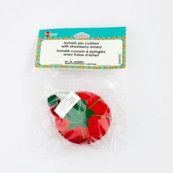 Pelote à épingles tomate et fraise émeri