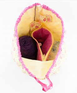 Sac à tricot avec pochette de rangement - Fleurs rose (ouvert)