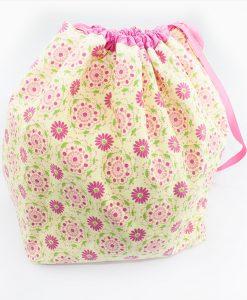 Sac à tricot avec pochette de rangement - Fleurs rose