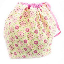 Sac à tricot avec pochette de rangement - Fleurs rose - fait main Artigina