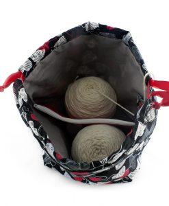 Sac à tricot avec pochette de rangement - Coeurs de laine sur fond noir - Fait main par Artigina