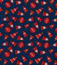Tissu aux motifs de cones oranges et de panneaux d'arrêts sur fond bleu - Artigina