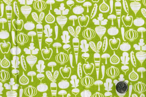Tissu aux motifs de légumes sur fond vert - Artigina