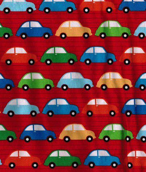 Tissu aux motifs de petites voitures colorées sur fond rouge – Artigina