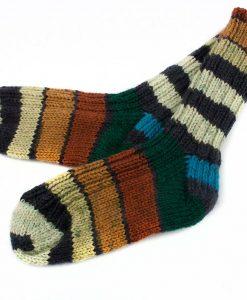 Bas de laine pour enfants fait main - Rayures rouillés - Artigina