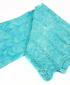 Foulard de laine mérino nylon - Chevron turquoise tropicale - Fait main Artigina
