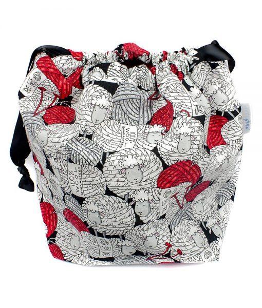 Sac à tricot avec pochette de rangement - Mouton et balles de laine - Artigina