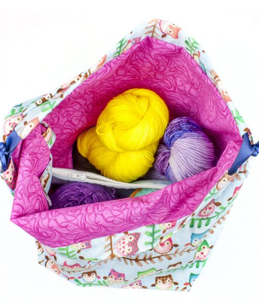 Sac à tricot avec pochette de rangement - Hiboux - Grand (Artigina)