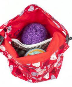 Sac à tricot avec pochette de rangement - Coeur en laine rouge - Moyen (Artigina)