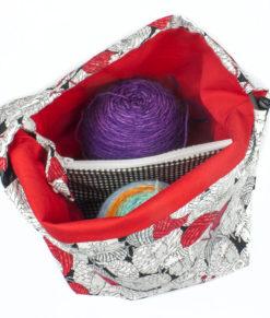 Sac à tricot avec pochette de rangement - Moutons balles de laine - Moyen (Artigina)