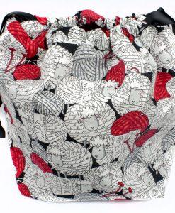 Sac à tricot avec pochette de rangement - Moutons balles de laine (Artigina)