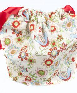Sac à tricot avec pochette de rangement - Oiseaux - (Artigina)