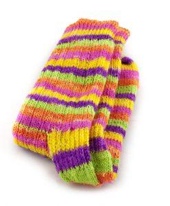 Bas de laine fait main - Côtu multicolor - Artigina