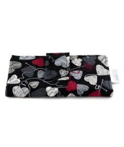 Portefeuille Coeurs de laine sur fond noir - fait main Artigina