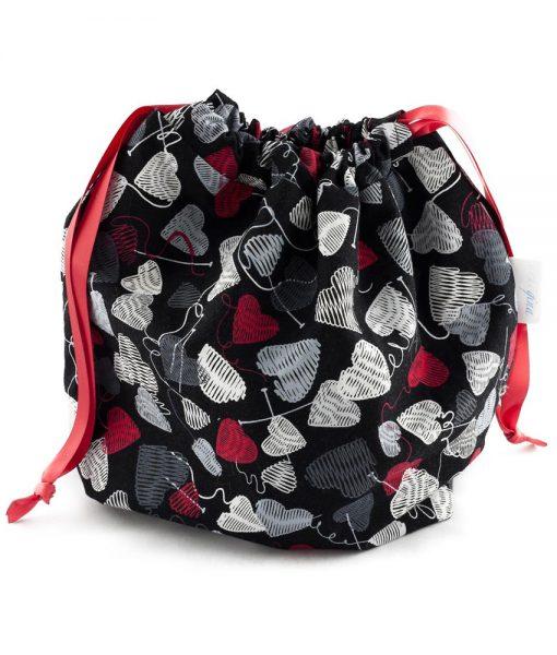 Sac à tricot avec pochette de rangement - Coeurs de laine sur fond noir (fait main)