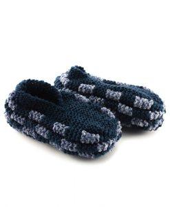 Pantoufles en phentex pour femme - Marine et bruyère bleu - Artigina