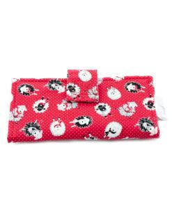 Portefeuille pour femme - Moutons sur fond rouge - Fait main par Artigina