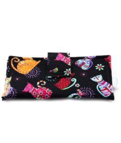 Portefeuille pour femme - Chats sur fond noir - fait main Artigina