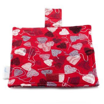 Portefeuille pour femme - Coeurs de laine sur fond rouge - fait main Artigina