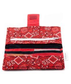 Portefeuille pour femme - Mouchoirs rouge - fait main Artigina