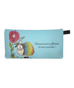 Pochette de rangement - Rose et Mouton (fond bleu) - Fournisseurs officiels de ma passion - Artigina