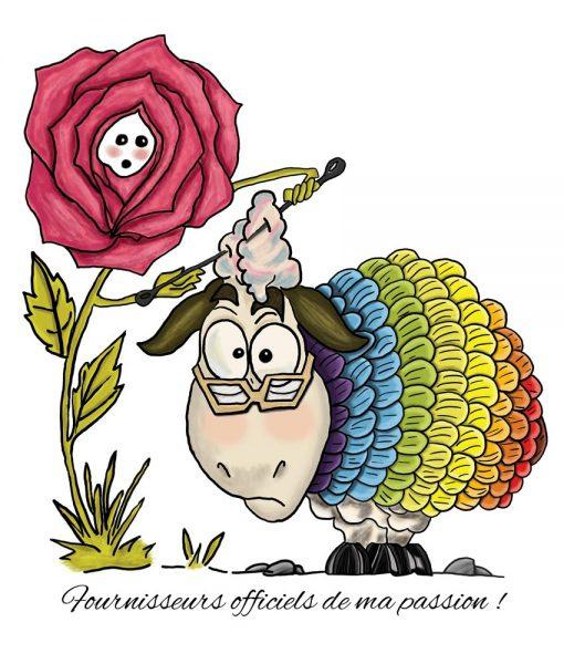 Sac fourre-tout - Rose et mouton (fond bleu) - Artigina