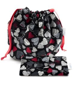 Ensemble sac à tricot et portefeuille - Cœurs de laine sur fond noir - Artigina
