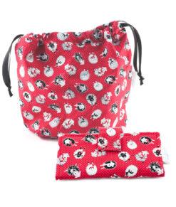 Ensemble sac à tricot et portefeuille - Moutons sur fond rouge - Artigina