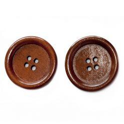 Bouton de bois   Brun 4 trous, 3cm, 3mm d'épaisseur