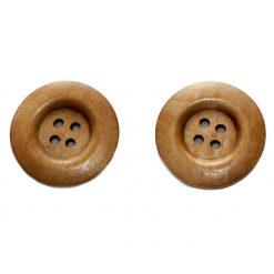 Bouton de bois   Brun moyen 4 trous, 3cm, 3mm d'épaisseur