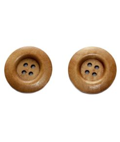 Bouton de bois | Brun moyen 4 trous, 3cm, 3mm d'épaisseur