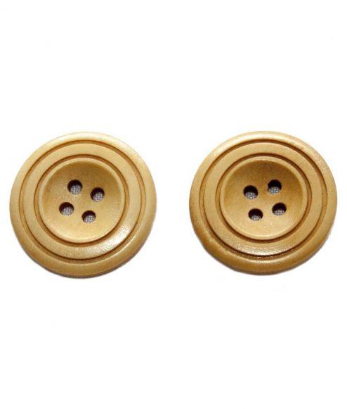 Bouton de bois | Brun clair 4 trous, 3cm, 3mm d'épaisseur