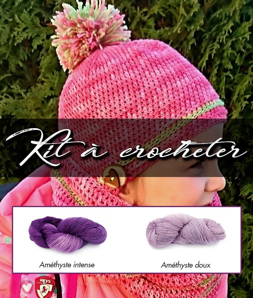 Kit à crocheter - Tourbillon d'automne - Améthyste intense et doux - Enfants