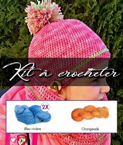Kit à crocheter - Tourbillon d'automne - Bleu rivière et orangeade - Adultes