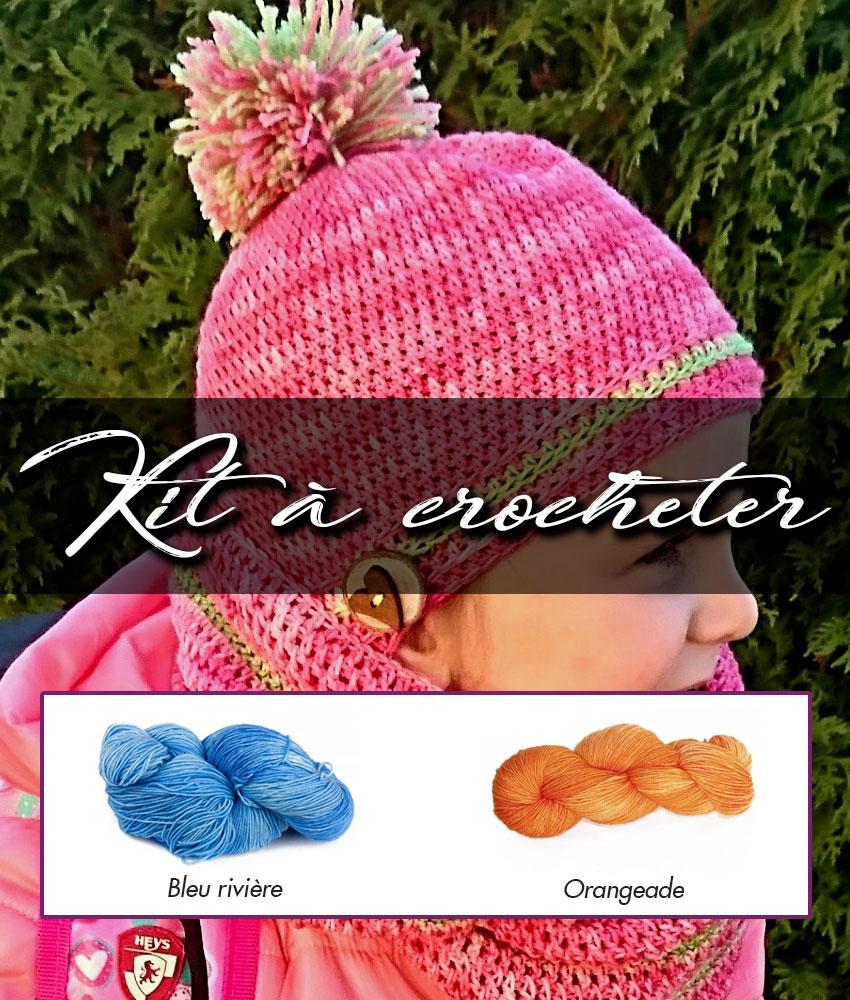 Kit à crocheter - Tourbillon d'automne - Bleu rivière et orangeade - Enfants