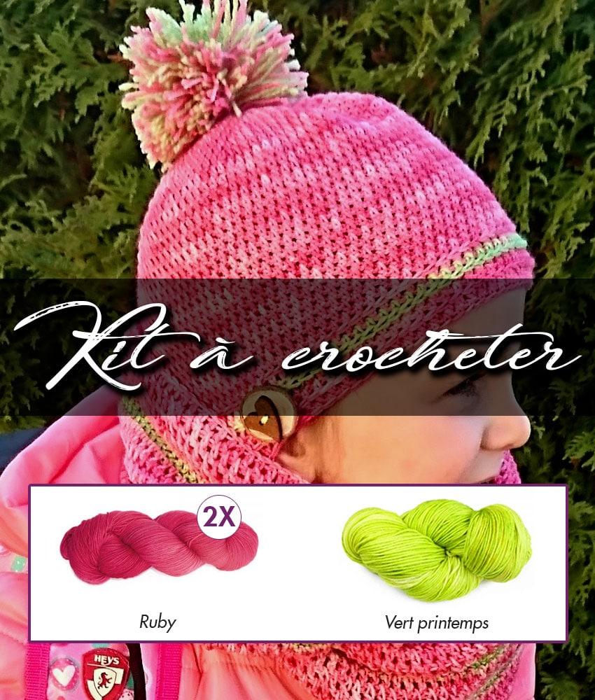 Kit à crocheter - Tourbillon d'automne - Ruby et vert printemps - Adultes