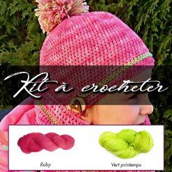 Kit à crocheter - Tourbillon d'automne - Ruby et vert printemps - Enfants